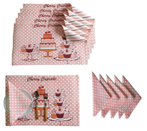 Lushomes Cupcake Design 6 Cotton Mats & 6 Printed Cotton Napkins (12 pcs) - Lushomes