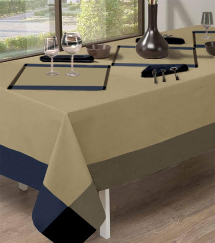 Lushomes Rectangle Navy/Beige Dining Tablecloth for Dinning Table 6 Seater Cotton - Lushomes