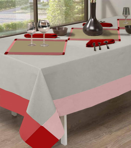 Lushomes Rectangle Terra/Beige Dining Tablecloth for Dinning Table 6 Seater Cotton - Lushomes