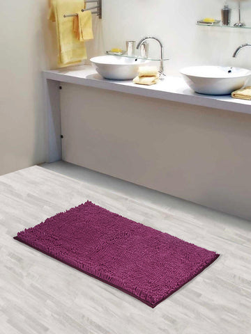 Lushomes Chenille Amethyst Thick and fluffy 2200 GSM bathmat with High Pile Microfiber with Synthetic backing, Super Absorbent - Lushomes
