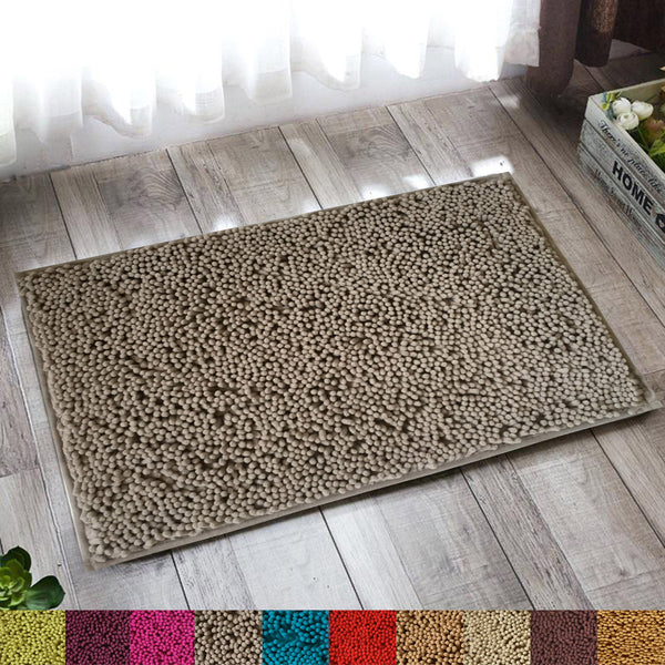 Lushomes Chenille Dove Thick and fluffy 2200 GSM bathmat with High Pile Microfiber with Synthetic backing, Super Absorbent - Lushomes