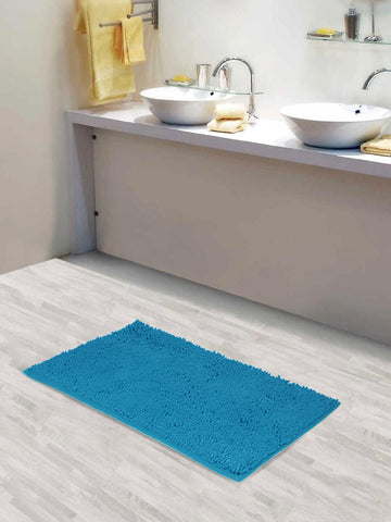 Lushomes Chenille Peacock Thick and fluffy 2200 GSM bathmat with High Pile Microfiber with Synthetic backing, Super Absorbent - Lushomes