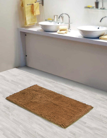 Lushomes Chenille Croissant Thick and fluffy 2200 GSM bathmat with High Pile Microfiber with Synthetic backing, Super Absorbent - Lushomes