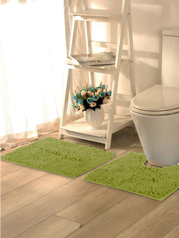 Lushomes Chenille Olive Green Thick and fluffy bathmat with High Pile Microfiber with Synthetic backing, Super Absorbent with Contour - Lushomes