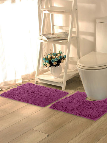 Lushomes Chenille Amethyst Thick and fluffy bathmat with High Pile Microfiber with Synthetic backing, Super Absorbent with Contour - Lushomes