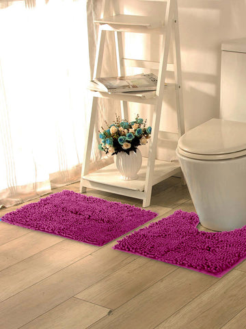 "Lushomes Chenille Rasberry Rose Thick and fluffy 2200 GSM bathmat with High Pile Microfiber with Synthetic backing, Super Absorbent (Bathmat Size: 20""x 30"" and Contour Size 20 x 18"", 2 Pc set) - Lushomes"