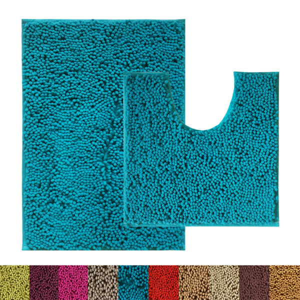 Lushomes Chenille Peacock Thick and fluffy bathmat with High Pile Microfiber with Synthetic backing, Super Absorbent with Contour