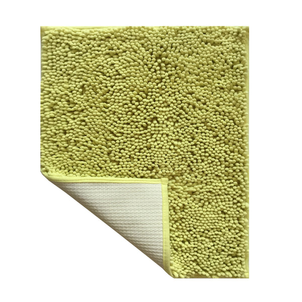 "Lushomes Chenille Olive Green Thick and fluffy 2200 GSM bathmat with High Pile Microfiber with Synthetic backing, Super Absorbent (Bathmat Size: 16""x 24"" and Contour Size 16 x 16"", 2 Pc set) - Lushomes"