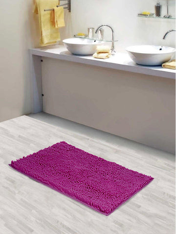 Lushomes Chenille Rasberry Rose Thick and fluffy bathmat with High Pile Microfiber with Synthetic backing, Super Absorbent with Contour - Lushomes