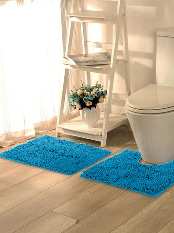 Lushomes Chenille Peacock Thick and fluffy bathmat with High Pile Microfiber with Synthetic backing, Super Absorbent with Contour - Lushomes