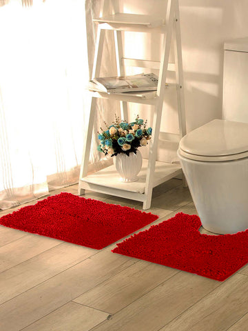 Lushomes Chenille Rococco Red Thick and fluffy bathmat with High Pile Microfiber with Synthetic backing, Super Absorbent with Contour - Lushomes
