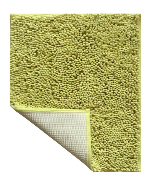 Lushomes Chenille Olive Green Thick and fluffy 2200 GSM bathmat with High Pile Microfiber with Synthetic backing, Super Absorbent - Lushomes