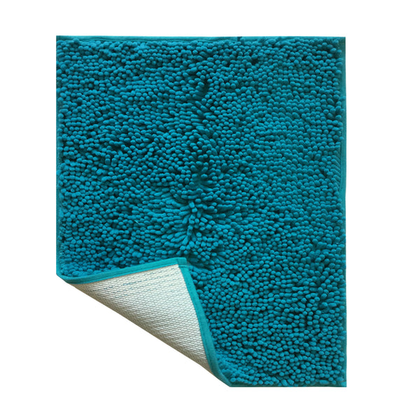 "Lushomes Chenille Peacock Thick and fluffy 2200 GSM bathmat with High Pile Microfiber with Synthetic backing, Super Absorbent (12""x 18"", 30 x 45 cms, Single Pc) - Lushomes"