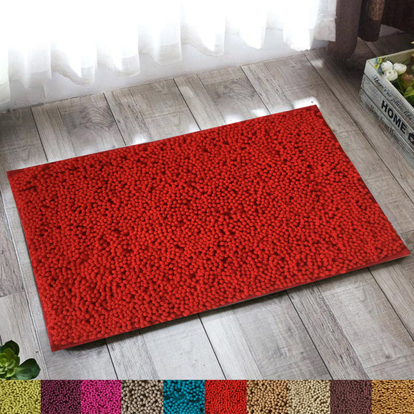 Lushomes Chenille Rococco Red Thick and fluffy 2200 GSM bathmat with High Pile Microfiber with Synthetic backing, Super Absorbent - Lushomes