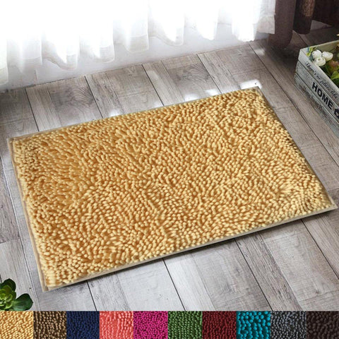 Lushomes Beige Thick and fluffy Chenille 1200 GSM bathmat with High Pile Microfiber with PVC backing, Super Absorbent - Lushomes