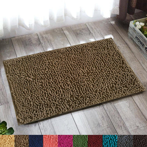Lushomes Latte Thick and fluffy Chenille 1200 GSM bathmat with High Pile Microfiber with PVC backing, Super Absorbent - Lushomes