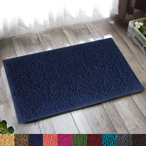 "Lushomes Navy Thick and fluffy Chenille 1200 GSM bathmat with High Pile Microfiber with PVC backing, Super Absorbent (Bathmat Size: 16""x 24"", Single Pc ) - Lushomes"