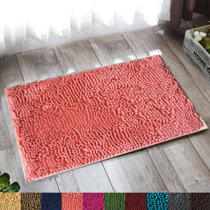 "Lushomes Pink Thick and fluffy Chenille 1200 GSM bathmat with High Pile Microfiber with PVC backing, Super Absorbent (Bathmat Size: 16""x 24"", Single Pc ) - Lushomes"