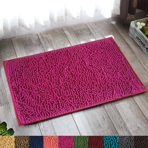 Lushomes Amaranth Thick and fluffy Chenille 1200 GSM bathmat with High Pile Microfiber with PVC backing, Super Absorbent - Lushomes
