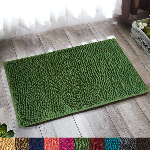 Lushomes Grass Thick and fluffy Chenille 1200 GSM bathmat with High Pile Microfiber with PVC backing, Super Absorbent - Lushomes