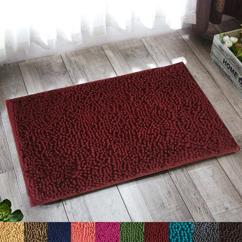 Lushomes Burgundy Thick and fluffy Chenille 1200 GSM bathmat with High Pile Microfiber with PVC backing, Super Absorbent - Lushomes
