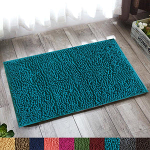 "Lushomes Peacock Thick and fluffy Chenille 1200 GSM bathmat with High Pile Microfiber with PVC backing, Super Absorbent (Bathmat Size: 16""x 24"", Single Pc ) - Lushomes"