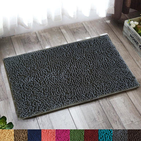 Lushomes Dark Grey Thick and fluffy Chenille 1200 GSM bathmat with High Pile Microfiber with PVC backing, Super Absorbent - Lushomes