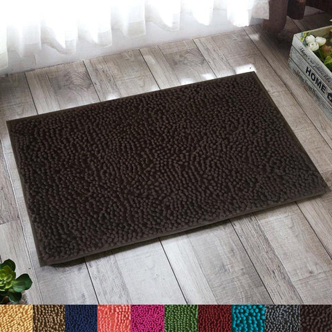 "Lushomes Chocolate Thick and fluffy Chenille 1200 GSM bathmat with High Pile Microfiber with PVC backing, Super Absorbent (Bathmat Size: 16""x 24"", Single Pc ) - Lushomes"
