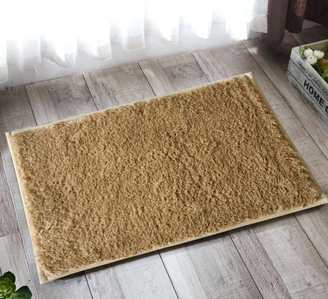 "Lushomes Camel Thick and fluffy 1800 GSM bathmat with High Pile Microfiber with Synthetic backing, Super Absorbent (12""x 18"", 30 x 45 cms, Single Pc) - Lushomes"