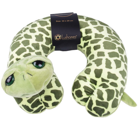 Lushomes Tortoise Neck pillow with soft polyester filling. (29 x 30 cms, Single pc) Green - Lushomes