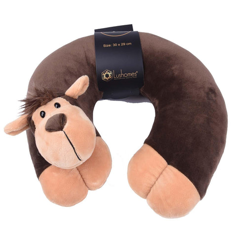 Lushomes Orangutan Neck pillow with soft polyester filling. (29 x 30 cms, Single pc) Brown - Lushomes