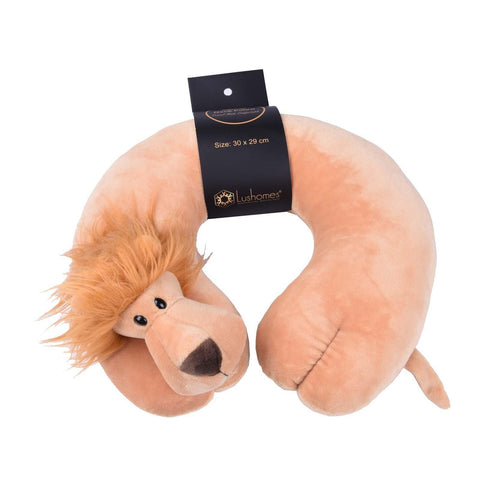 Lushomes Lion Neck pillow with soft polyester filling. (29 x 30 cms, Single pc) Brown - Lushomes