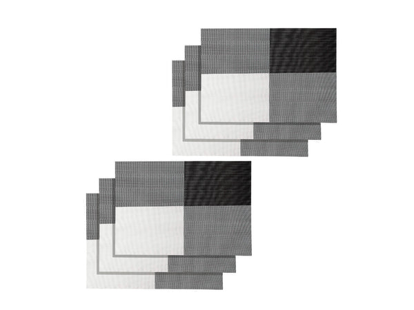 Lushomes Black & White Design 1 Waterproof PVC Placemats in Reusable PVC bag (33 x 45 cms, Pack of 6)