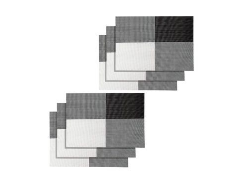 Lushomes Black & White Design 1 Waterproof PVC Placemats in Reusable PVC bag (33 x 45 cms, Pack of 6) - Lushomes