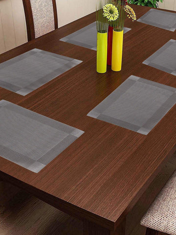 Lushomes Transparent Grey Waterproof PVC Placemats in Reusable PVC bag (33 x 45 cms, Pack of 6)
