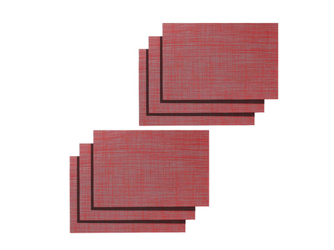 Lushomes Red Jacquard Waterproof PVC Placemats in Reusable PVC bag (33 x 45 cms, Pack of 6) - Lushomes