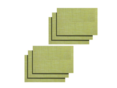 Lushomes Green Jacquard Waterproof PVC Placemats in Reusable PVC bag (33 x 45 cms, Pack of 6) - Lushomes