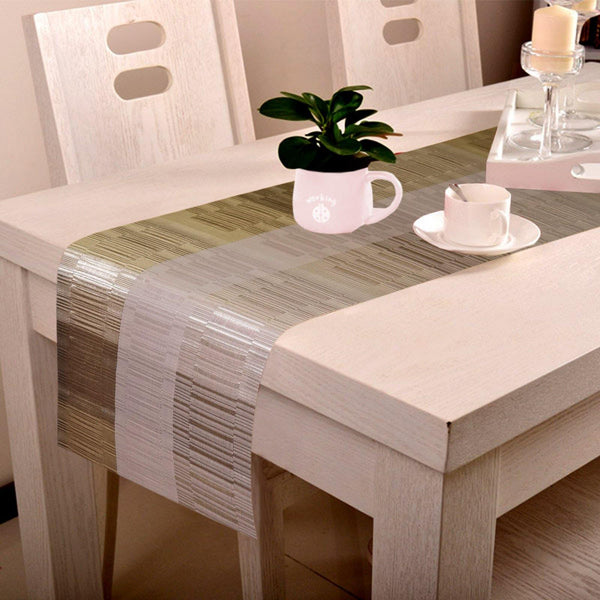 Lushomes Grey & White Bamboo Waterproof and heat resistant PVC Runner ( 30 x 180 cms) - Lushomes