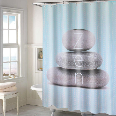 Lushomes Zen Design Digital Printed Waterproof Bathroom Shower Curtain with 12 Eyelets and 12 Hooks - Lushomes