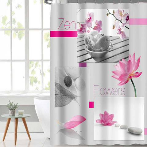 Lushomes Pink Flower Digital Printed Waterproof Bathroom Shower Curtain with 12 Eyelets and 12 Hooks - Lushomes