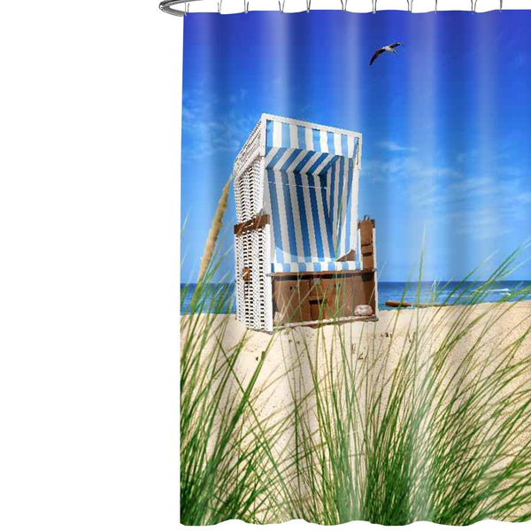 Lushomes Beach Chair Printed Waterproof Bathroom Shower Curtain with 12 Eyelets and 12 Hooks