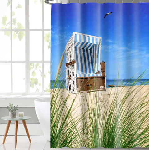 Lushomes Beach Chair Printed Waterproof Bathroom Shower Curtain with 12 Eyelets and 12 Hooks - Lushomes
