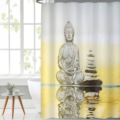 Lushomes Buddha Digital Printed Waterproof Bathroom Shower Curtain with 12 Eyelets and 12 Hooks - Lushomes