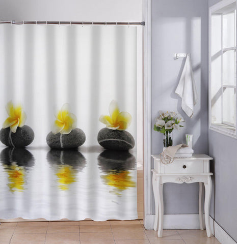 Lushomes Yellow Flower Printed Waterproof Bathroom Shower Curtain with 12 Eyelets and 12 Hooks - Lushomes
