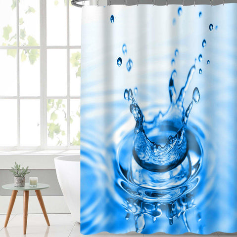Lushomes Drop Deisgn Digital Printed Waterproof Bathroom Shower Curtain with 12 Eyelets and 12 Hooks - Lushomes