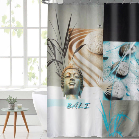 Lushomes Bali Deisgn Digital Printed Waterproof Bathroom Shower Curtain with 12 Eyelets and 12 Hooks - Lushomes