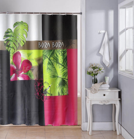 Lushomes Bora Bora Deisgn Digital Printed Waterproof Bathroom Shower Curtain with 12 Eyelets and 12 Hooks - Lushomes
