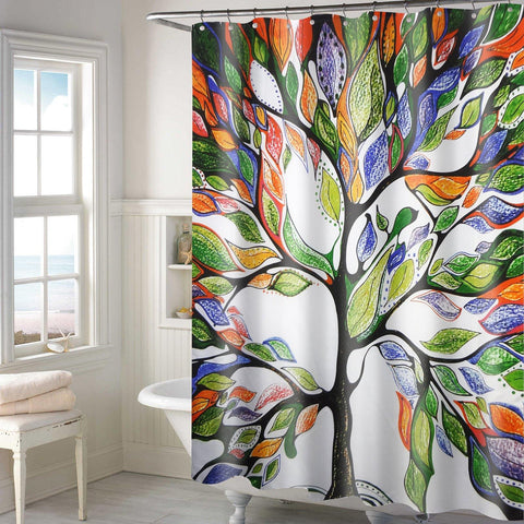 Lushomes Multi tree Deisgn Digital Printed Waterproof Bathroom Shower Curtain with 12 Eyelets and 12 Hooks - Lushomes
