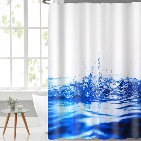 Lushomes Water Deisgn Digital Printed Waterproof Bathroom Shower Curtain with 12 Eyelets and 12 Hooks - Lushomes