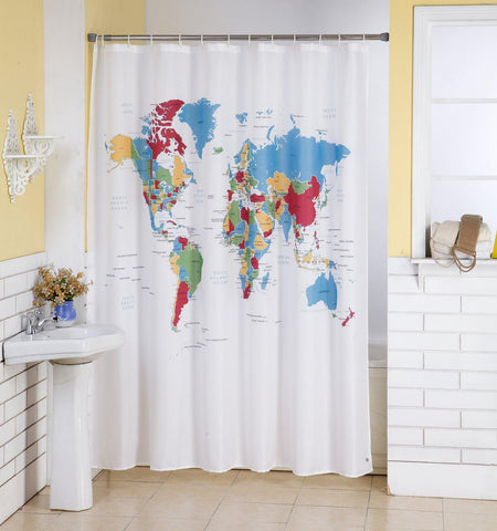 Lushomes World Map Digital Printed Waterproof Bathroom Shower Curtain with 12 Eyelets and 12 Hooks - Lushomes